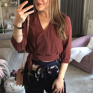 Madewell Burnt Red Silk Wrap Tie Top Blouse XS